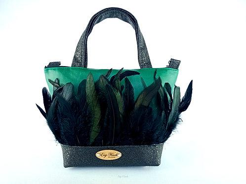 mini sac cabas noir/vert et plumes