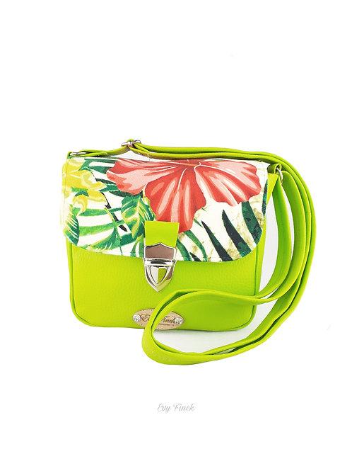 Mini sac à main bandoulière vert pomme/ velours tropical