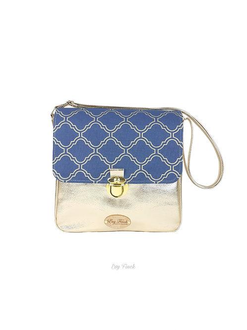 sac à main bandoulière doré/bleu pétrole