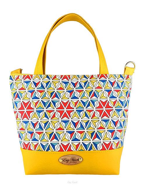Mini sac cabas jaune/ motif géométrique
