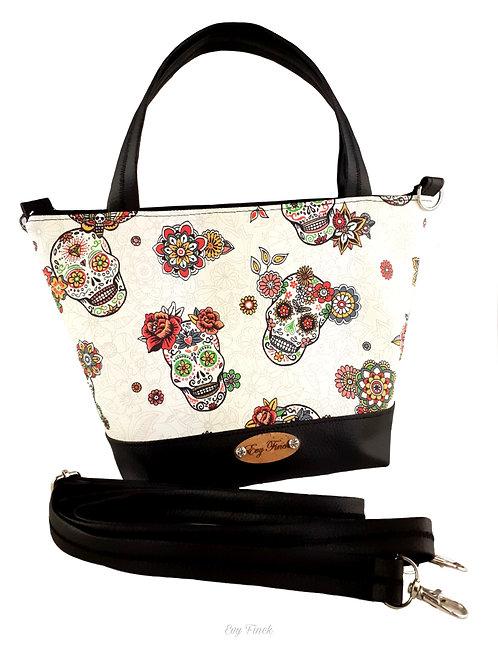 sac à main noir têtes de mort mexicaines