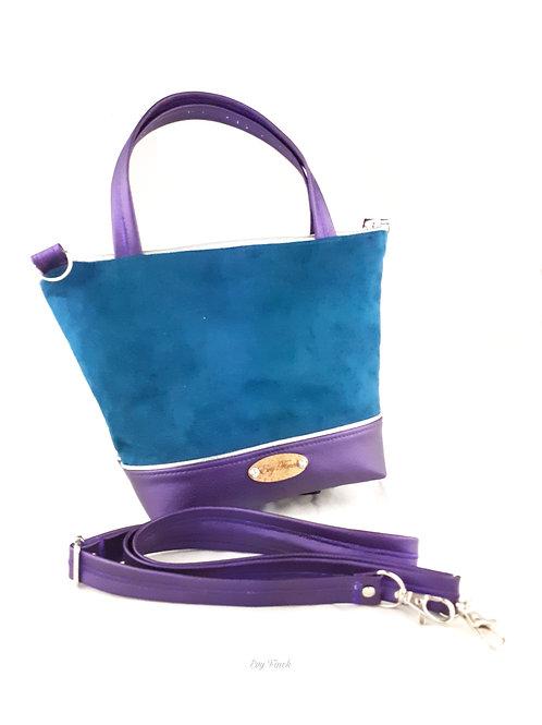 Mini sac cabas bleu canard/violet