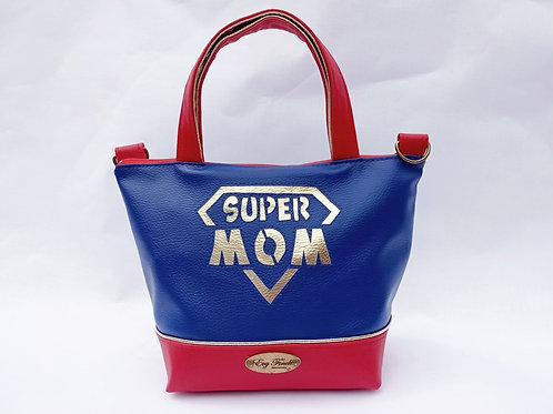 Mini sac cabas super mom Bleu/rouge/doré