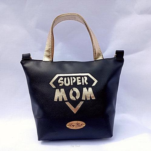 Mini sac cabas super mom noir/doré fête des mères