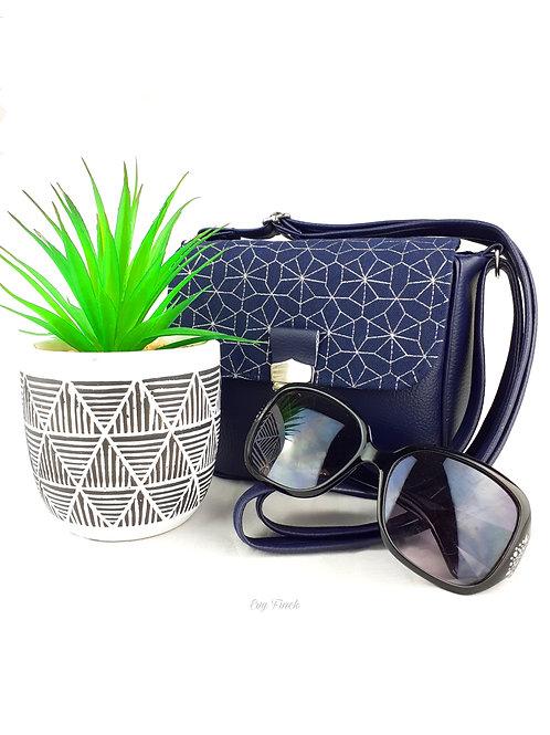 Mini sac à main bandoulière bleu marine/argenté