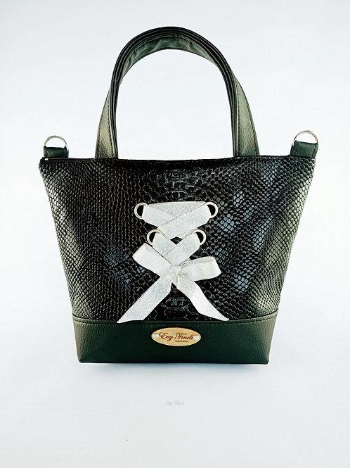 mini sac cabas noir/ croco lassage argenté