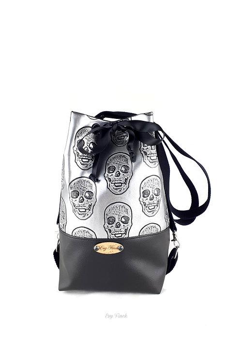 sac à main noir/argenté têtes de mort
