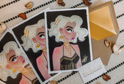 GOLDEN VINTAGE GIRL ART PRINT
