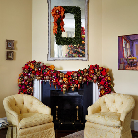 Hot pink fuschia, orange and gold Christmas mantle garland and mirror wreath with ornaments and bows; from VP Biden's home