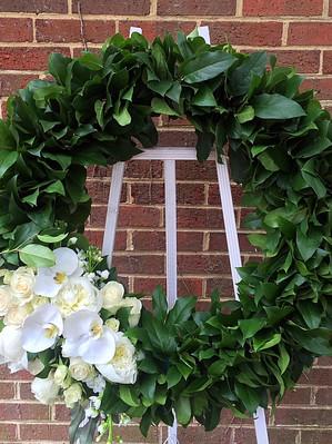 Green funeral wreath