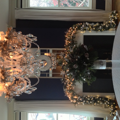 Fireplace christmas garland with silver and white lights