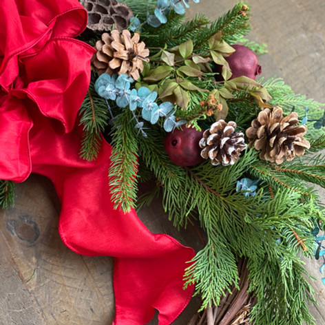 Grapevine wreath with pinecones, evergreens and red bow