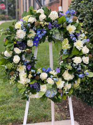 Blue and white sympathy wreath