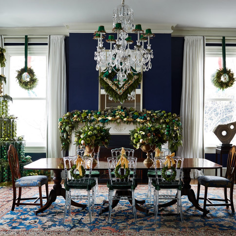Christmas dining room installation, ornament tree, wreaths, table and mantle; Photo Credit: Architectural Digest