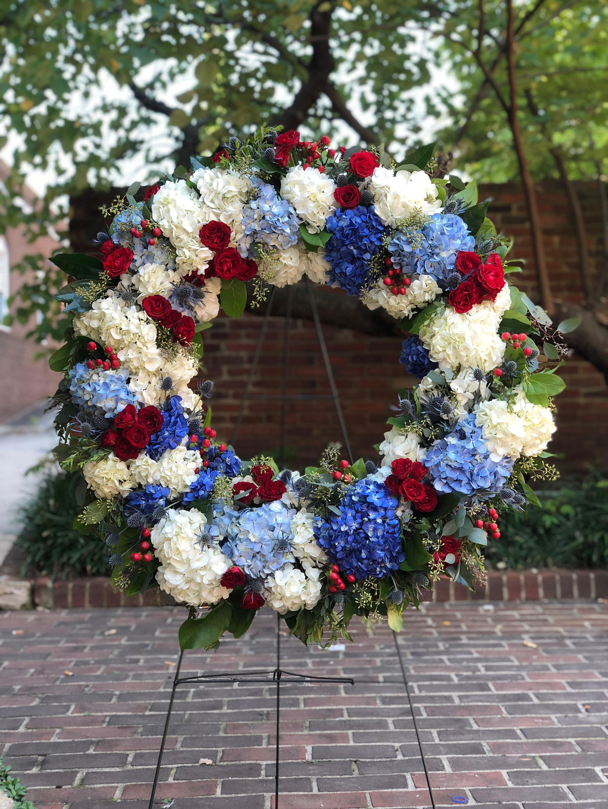 red white and blue sympathy wreath