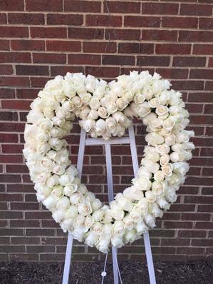 white rose heart sympathy wreath