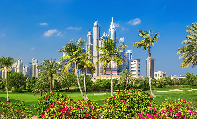 Dubai Marina skyline, park and nature ar