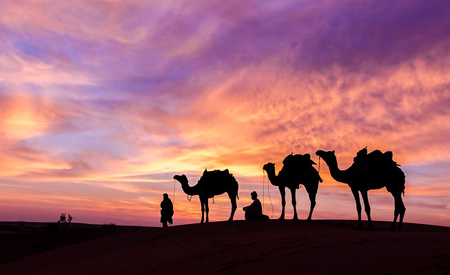 desert man with camel and great sky sett