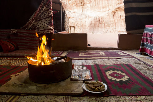 Campfire in a bedouin tent in the wadi r
