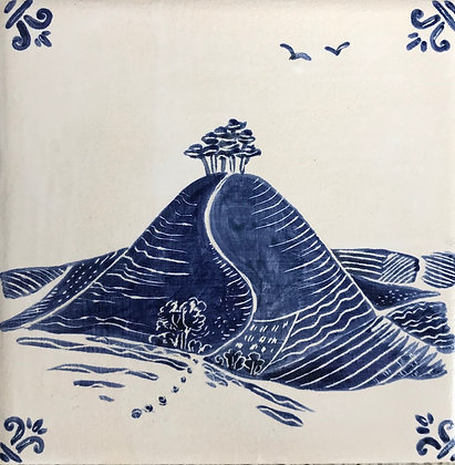 Two birds, Colmer's Hill,   6 inch ceramic tile
