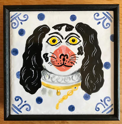 Wally Dog - Small hand painted Ceramic Tile
