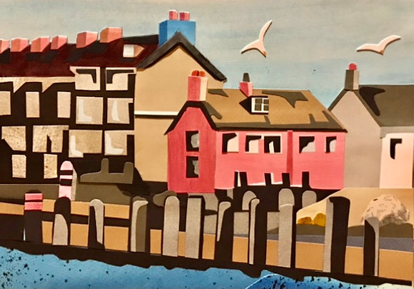 Pink House, West Bay A4 Giclee Print from Original Collage