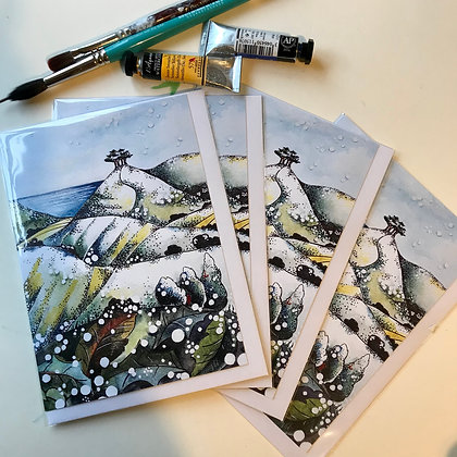 PACK OF 4 Snow flurries, Colmer's Hill  Christmas Cards