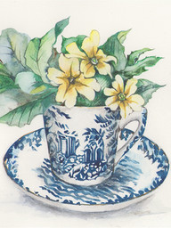 Primroses in willow pattern cup
