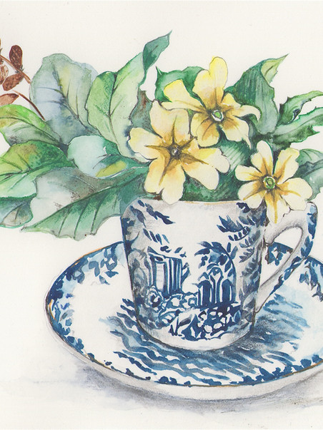 Primroses in Willow Pattern cup.