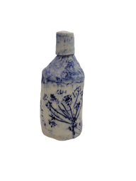 Tall blue and white bottle.