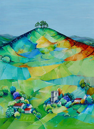 Lilac time, Colmer's Hill   A3 Giclee Print