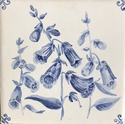 Foxgloves, 6 inch ceramic tile.