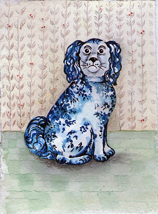 Blue and White Wally Dog - Original Watercolour Painting