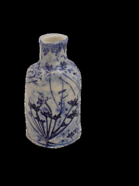 Medium blue and white bottle.