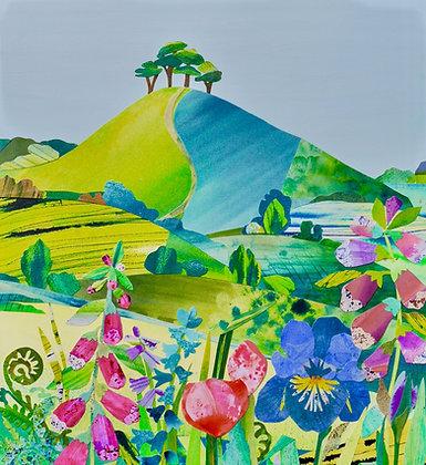 Foxgloves and Iris, Colmer's Hill   A3 Giclee Print