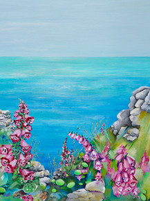 Foxgloves, Cornish cliff
