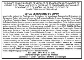 EDITAL INSCRIÇÃO DE CHAPAS