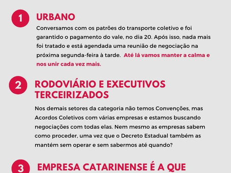 NOTAS SOBRE OS IMPACTOS DA QUARENTENA NA CATEGORIA