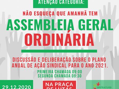 ATENÇÃO CATEGORIA, AMANHÃ TEM  ASSEMBLEIA!