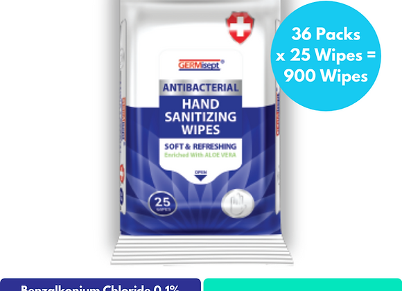 Antibacterial Sanitizing Wipes 25ct (900 Wipes) Includes 36 Packs