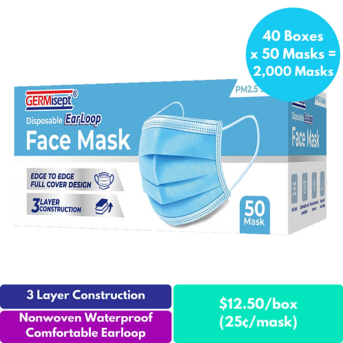 Disposable 3-Layer Earloop Face Mask 50ct (2,000 Masks) Case Includes 40 Boxes