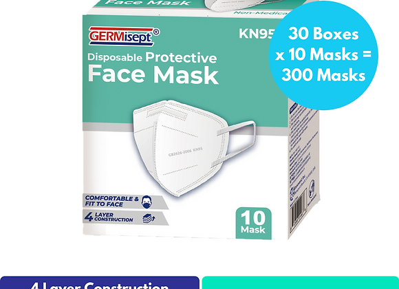 Disposable KN95 Face Mask 10ct (300 Masks) Case Pricing Includes 30 Boxes