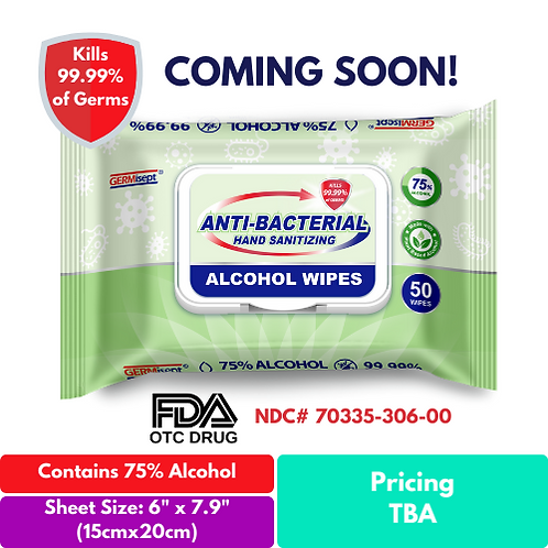 Antibacterial Hand Sanitizing Alcohol Wipes