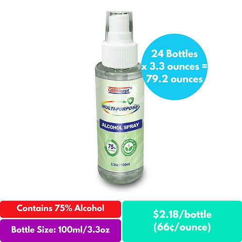 Multi-Purpose Alcohol Spray Case Pricing Includes 24 Bottles