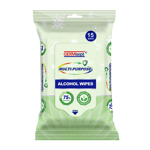 Multi-Purpose Alcohol Wipes 15ct (480 Wipes) Case Pricing Includes 32 Packs