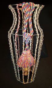 crochet wire cage up-cycled umbrella stand functional art by Bean