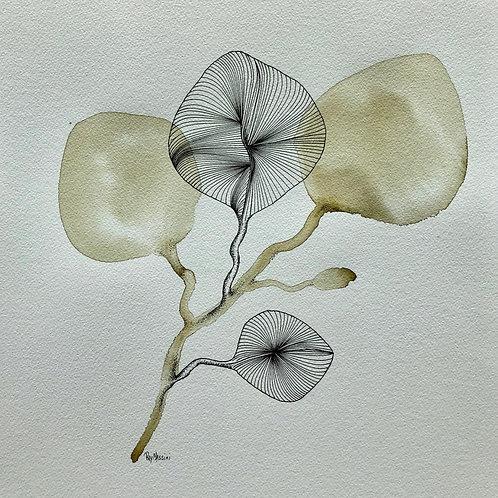 "Green botanical   (11""X 12"")"