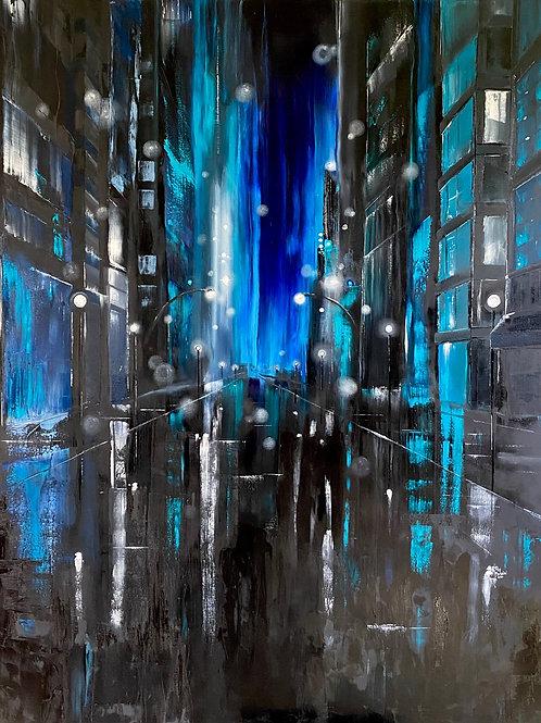 BLUE CITYSCAPE  48 X 60