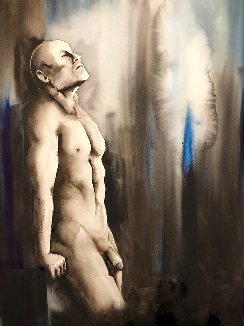 Leaning-Male nude 18 X 24