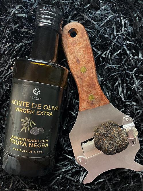 Aceite oliva virgen extra trufado + laminador + trufa
